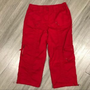 Style & Company Red Cotton Cargo Crops size 6